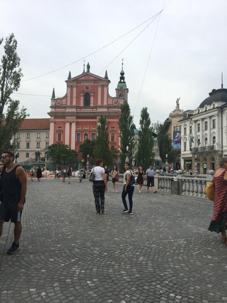 Prešernov Square and the Franciscan Church